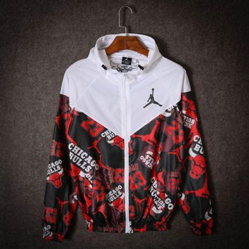 PEAPDQ7 White Jordan 23 Chicago Bulls Print Loose Windbreaker Coat