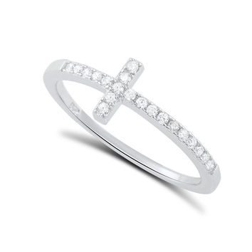 Sterling Silver Cz Thin Stackable Sideways Cross Ring