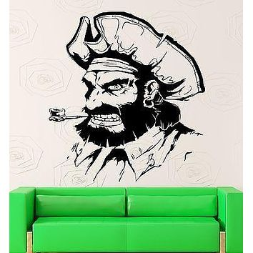 Wall Stickers Pirate Sailor Man Smoking Pipe Kids Room Vinyl Decal Unique Gift (ig2452)