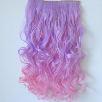 New Colorful Curly Beauty Women Synthetic Cosplay Hair Extensions Jf666 (Purple to Pink)