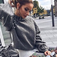 Winter Pearl Knitted Sweater