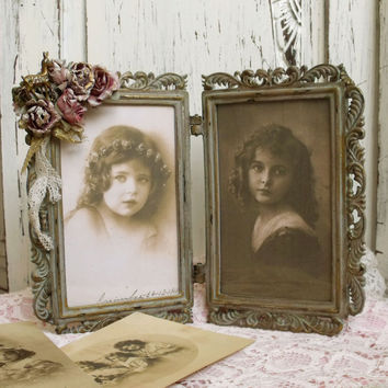 Vintage Double picture frame Flowers Bambi shabby chic distressed double photo frame Roses decor