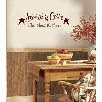 Amazing Grace How Sweet The Sound with Primitive Stars Vinyl Wall Words Decal Sticker Graphic