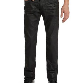 GUESS Men's Lincoln Original Straight Jeans in Black Solar Wash, 32 Inseam