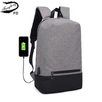 School Backpack trendy FengDong men smart waterproof backpack usb charge minimalist business casual backpack travel bag s for boys AT_54_4