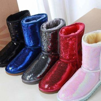 Free shipping-UGG women's versatile tube sequin snow boots