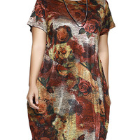 Casual Plus Size Floral Print Baggy Dress