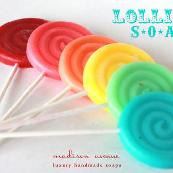 Handmade SOAP Vintage Swirl LOLLIPOPS make the cutest favors Set of  SIX  Spa party favors circus party candyland party or Girls Day