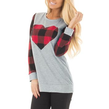 Buffalo Plaid, Long Sleeve, Heart, Women's T-Shirt