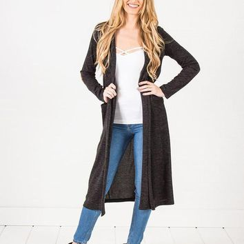Elbow Patch Maxi Cardigan ~ 3 Colors