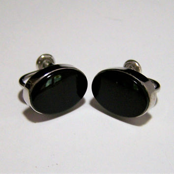 Van Dell Black Onyx Earrings, Sterling Silver Setting, Screw Back Style, Mid Century Jewelry, Classic Style 717s