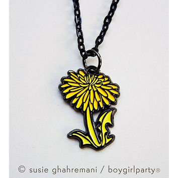 Dandelion Necklace - Botanical Necklace - Dandelion Jewelry by boygirlparty