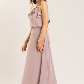 Lily Taupe Halter Maxi Dress