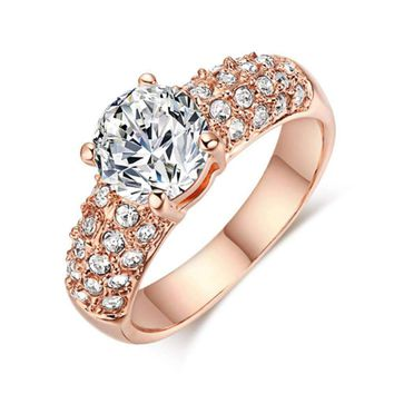 2018 Trendy Women rings Engagement Wedding Rings Big Cubic Zircon Gold Silver Color Stone Ring Jewelry Gift