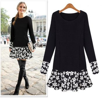 2017 Women's clothing long-sleeved round neck collar loose loose flower stitching [22424879130]