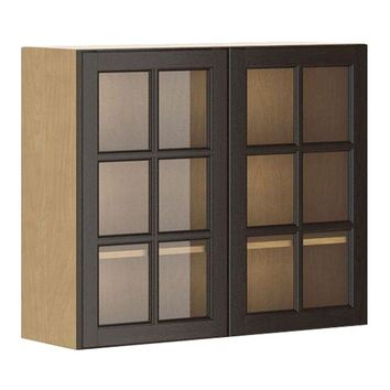 Eurostyle Ready to Assemble 36x30x12.5 in. Naples Wall Cabinet in Maple Melamine and Glass Door in Dark Brown-WG3630.M.NAPLE - The Home Depot