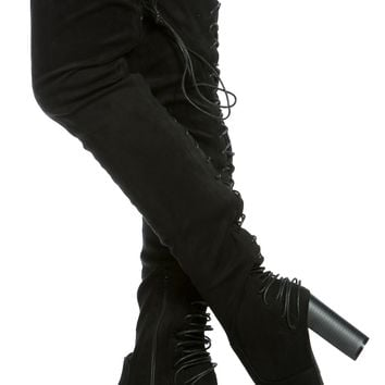 Black Faux Suede Rear Lace Up Chunky Thigh High Boots @ Cicihot Boots Catalog:women's winter boots,leather thigh high boots,black platform knee high boots,over the knee boots,Go Go boots,cowgirl boots,gladiator boots,womens dress boots,skirt boots.