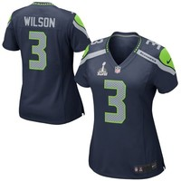 Nike Russell Wilson Seattle Seahawks Ladies Super Bowl XLVIII Game Jersey - College Navy