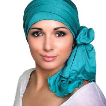 Emerald Teal Jersey Turban, Head Wrap, Alopecia Scarf, Chemo Hat and Scarf Set
