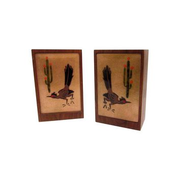 Pre-owned Signed Wood Enamel RoadRunner Cactus Bookends