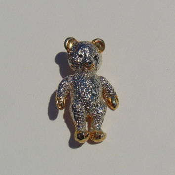 Vintage Teddy Bear Silver and Gold tone Brooch Pin Lapel