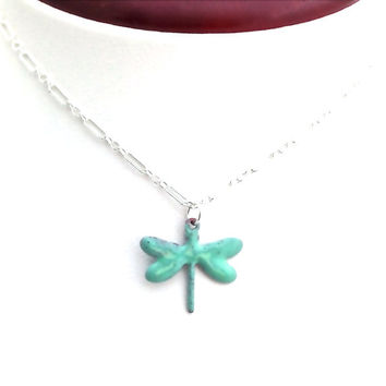 Dragonfly Necklace, Mint Green, Rustic, Sterling Silver, Enamel, Nature Jewelry, Gift for Teen Girl, Teenager