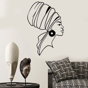 Vinyl Wall Decal Native African Women Turban Black Lady Stickers (2752ig)