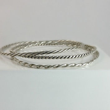 Textured Bangles Set - Silver Bangle Bracelets  - Vintage Sterling Bracelets - Silver Twisted Bracelets - Set of 3 Silver Bangles