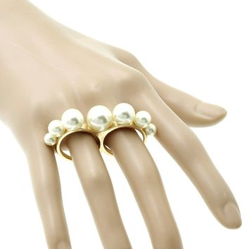 Exquisite Pearl Two Finger Knuckle Ring