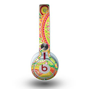 The Vibrant Green and Pink Paisley Pattern Skin for the Beats by Dre Mixr Headphones