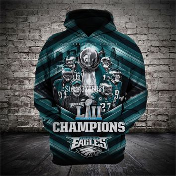 2019 Fashion Men women 3d Sweatshirts Eagles champion Hoody Hoodies With Cap Tops for Philadelphia fans gift 009