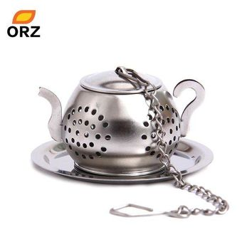 DCCKFS2 ORZ Tea Strainers Leaf Infuser Stainless Steel Teapot Shape With Tray Loose Ball Strainer Filter Herb Spice Diffuser Tea Tools
