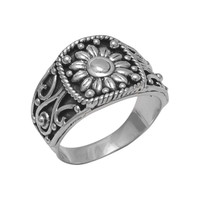 Oxidized Sunflower Ring