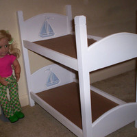 American Girl 18 inch doll size bunk bed white with blue sailboat headboard design