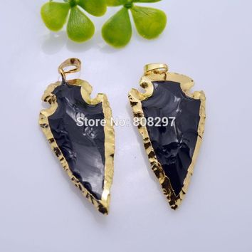 New Style 6Pcs Black Obsidian Pendant Bead Arrowhead Gold Color  Fashion Charm Gem Stone Pendant Necklace