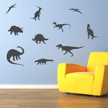 Dinosaur Wall Decal - Set of 10 - Dinosaur Bedroom Decor - Boy Bedroom Stickers - Large
