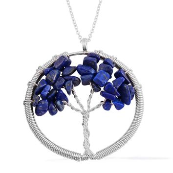 Lapis Stainless Steel Tree of Life With Chain (27 in)