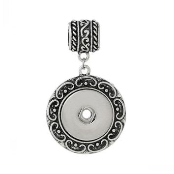 Fashion Pendants slide Round Antique Silver Flower Pattern