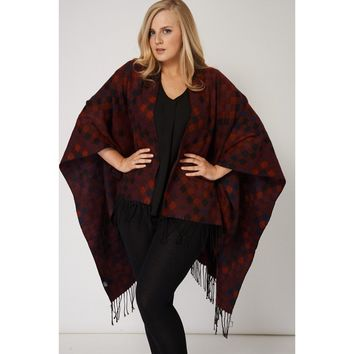 Red Fringed Poncho With Diamond Patch Pattern