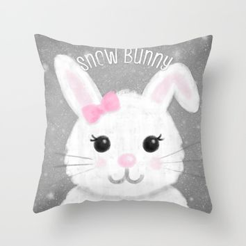 Snow Bunny Throw Pillow by Noonday Design