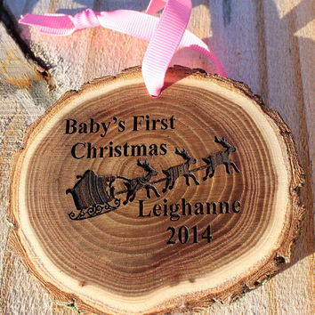 Baby's first Christmas ornament,  Personalized Ornament, Wood Christmas Ornament, Baby Ornament,  Baby's first ornament with name and year