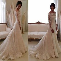 White/Ivory Mermaid Bridal Gown Wedding Dress Custom Size 2 4 6 8 10 12 14 16 18