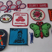 14-1013 Bunch Of Vintage 1980s Iron On Patches / Jacket Patches / Iron On Badges / Fabric Iron Ons / Embroidered Patches