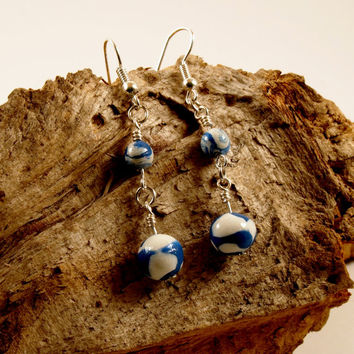 Blue Sky Round Earrings Polymer Clay Sterling Silver