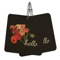 "Hello Bouquet Flowers Ranunculus Wood MDF 4"" x 4"" Mini Signs Gift Tags"