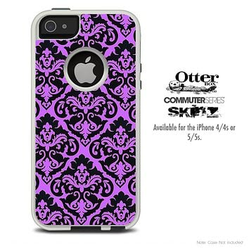The Mirrored Purple Laced Skin For The iPhone 4-4s or 5-5s Otterbox Commuter Case