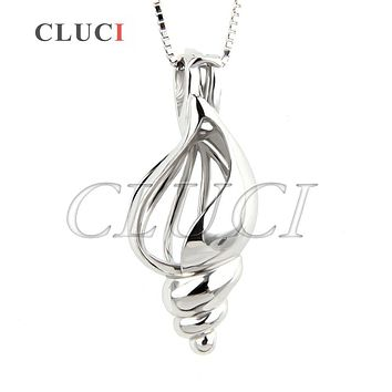 CLUCI hot sale summer beach women jewelry Shell charms 925 sterling silver Conch necklace cage pendant