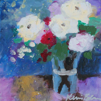 Abstract Floral Painting, Small Still Life, Roses in Vase, Bouquet of Flowers, Red, White, Blue