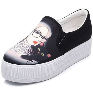 Spring Hand Painted Women Canvas Casual Shoes Korean Version Graffiti Shoes Female Ped