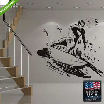 Wall Decal Decal Sticker Cute Surfer Sea Surf Board Ocean Kids Bedroom  z173